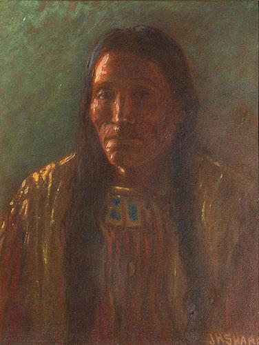 "Joseph H. Sharp (1859-1953), Indian Portrait, ca. 1910, oil on board, 9"" x 7"""