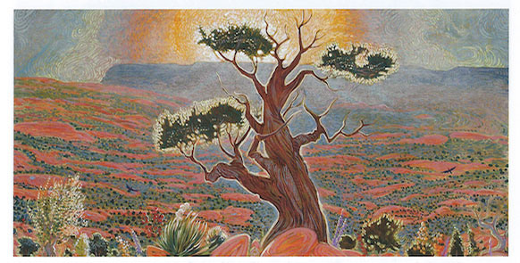 "Shonto Begay, Black Mesa Sunrise, acrylic on canvas, 24"" x 48"""