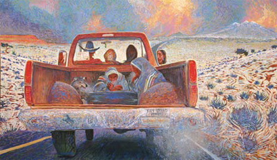 Shonto Begay, Our Promised Road, Acrylic on Canvas, 43.5