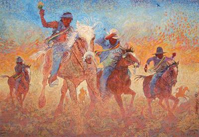 Shonto Begay, The Healing Ride, Acrylic on Canvas, 53