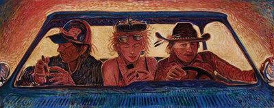Shonto Begay, Lights Too Close, Acrylic on Canvas, 17.5