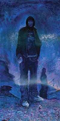 Shonto Begay, Desert Rock, Acrylic on Canvas, 24