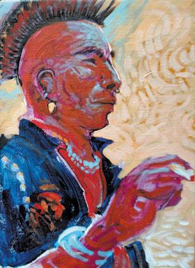 Shonto Begay, In His Ancestors Image, Acrylic