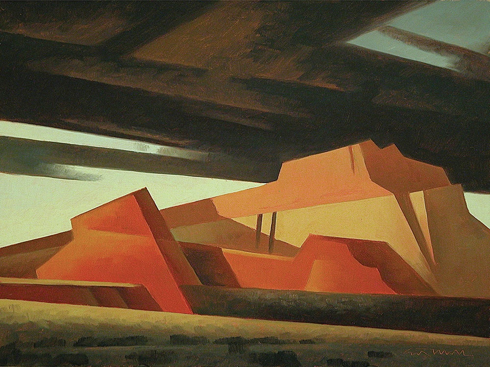 Ed Mell, Slanted Mesas I, oil on linen board, 11