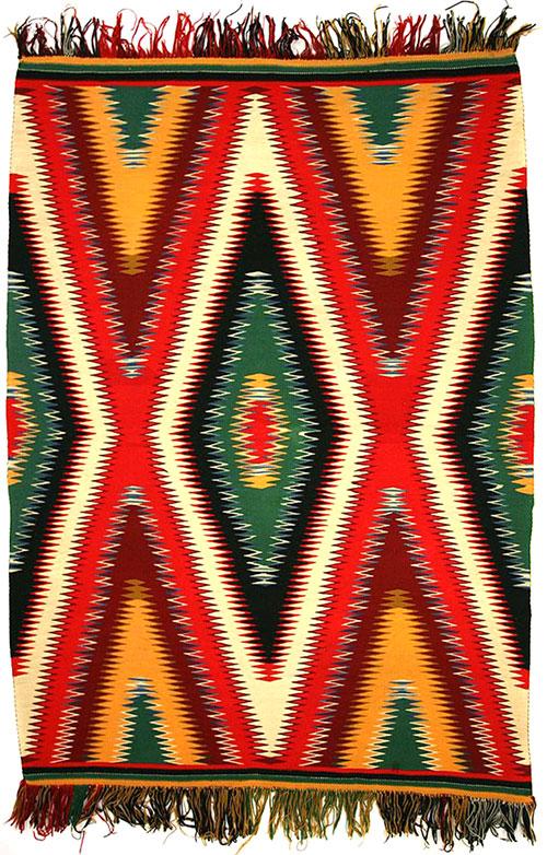 """Navajo Germantown Eyedazzler Blanket, c. 1890, 77-1/2"""" x 54-1/2"""""""