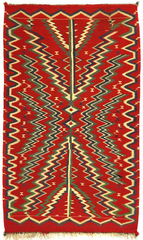 """Navajo Germantown blanket, ca. 1900, 79-1/2"""" x 50"""""""