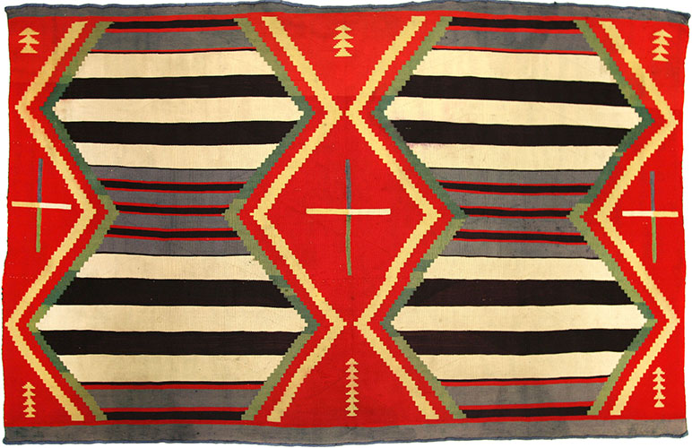 "Navajo Third Phase Germantown chief's blanket, ca. 1890, 48"" x 73-1/2"""