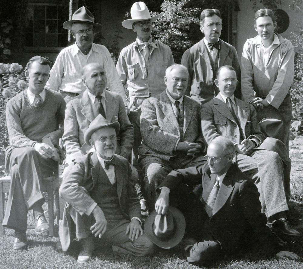 Taos Society of Artists photographed in 1932 by C.E. Lord in the Couse garden