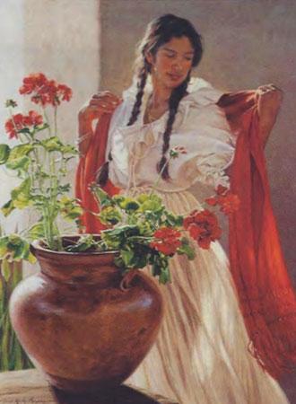 """Terri Moyers, Old Santa Fe, Oil on Canvas, 40"""" x 30"""""""