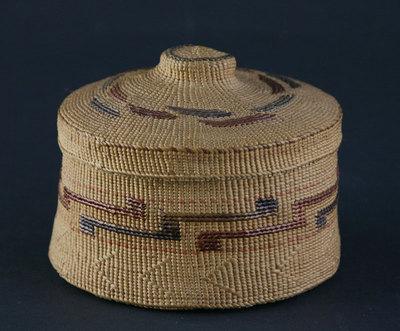 """Tlingit Rattletop Basket, c. 1900, 2.5"""" x 3.375"""""""