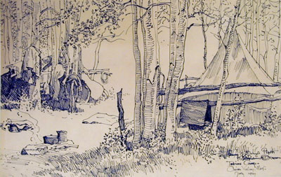 """Maynard Dixon, Tobins Camp, Pinion Valley, Nevada, (July 1927), pen and ink on paper, 9 x 15"""""""