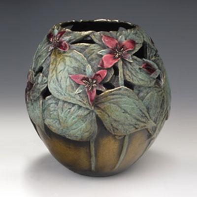 """Carol Alleman, Trillium, Bronze, 6""""H"""