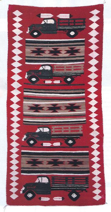 """Navajo Truck Pictorial Runner, ca. 1950, 72"""" x 35"""""""