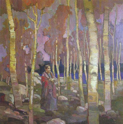 "Francis Livingston, Twilight, oil on panel, 16""x12"""