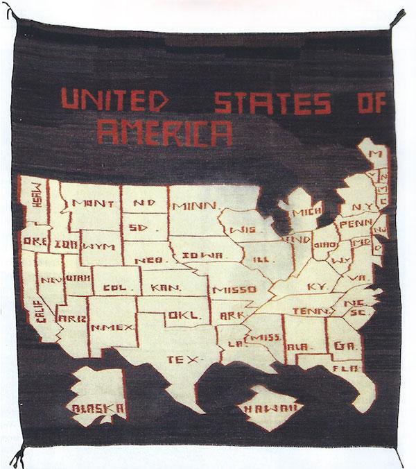 "Navajo USA Map Pictorial Rug, ca. 1960-70, 50-1/2"" x 49-1/2"""