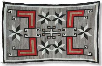 "Navajo Crystal Rug with Valero Stars, c. 1915, 79"" x 50"""