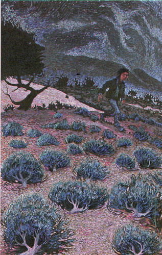 "Shonto Begay, On the Path Past the Witch Tree, acrylic on canvas, 66""x42"""