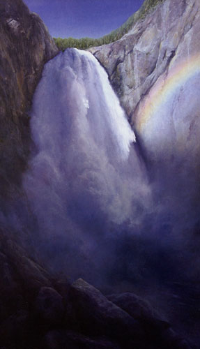 "P.A. Nisbet, Lower Falls of the Yellowstone, oil on canvas, 48""x30"""