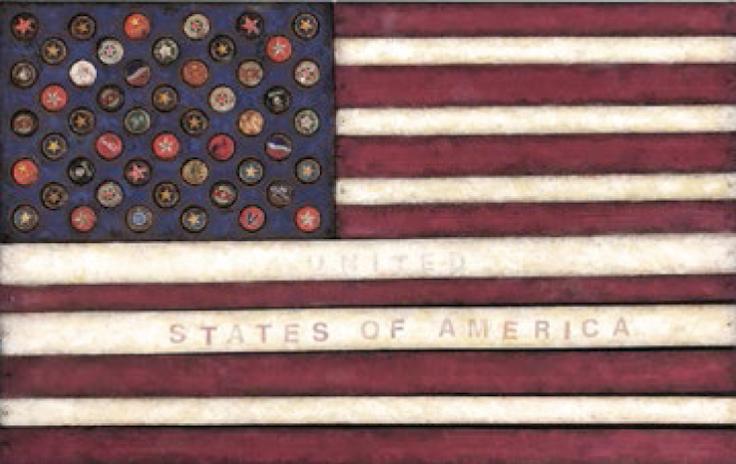 "Victoria Roberts ""United"" States of America, Mixed Media, 22"" x 33"""