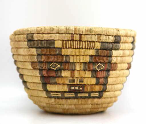 """Hopi polychrome kachina design coil basket, ca. 1930, 51⁄4 x 73⁄4"""""""