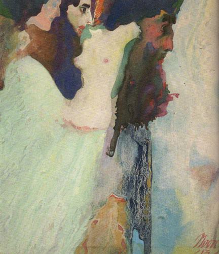 "Maynard Dixon (1875-1946) as ""Nvorczk"", Nude, c. 1923, gouache, 8-1/4""x8"""
