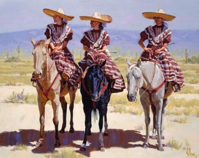 """Fred Fellows, The Desert Blooms, La Escaramuza, oil, 30"""" x 40"""""""