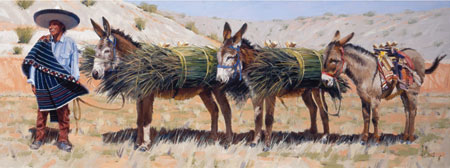 "Fred Fellows, Gatherers of Bear Grass, oil on canvas, 26"" x 70"""