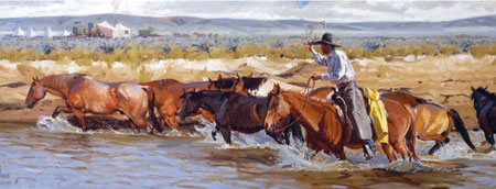 "Fred Fellows, Horses for the Noon Change, oil on canvas, 26"" x 70"""