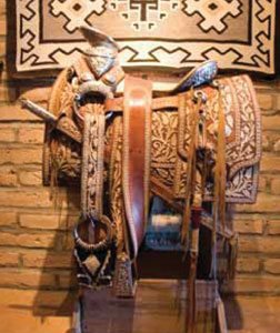 A close-up view of the saddle that once belonged to the governor of Baja, California.