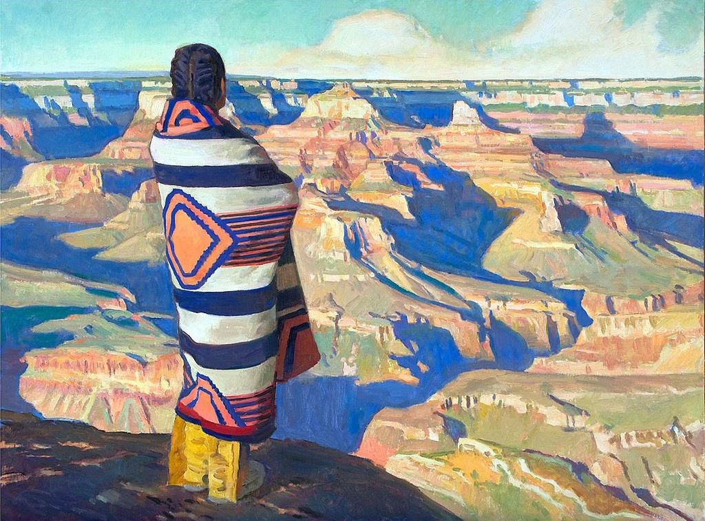 Ray Roberts - Rim Watcher, oil on mounted linen, 30 by 40 inches