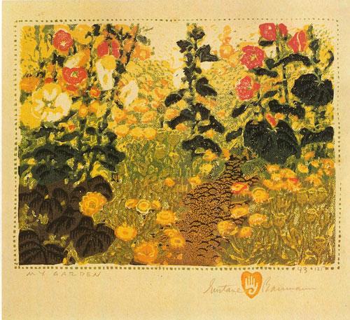 "Gustave Baumann, My Garden, 1924, color woodcut, 6""x7.5"""