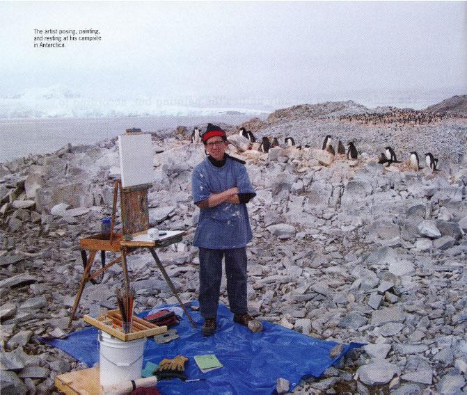 Artist James Woodside painting in Antarctica