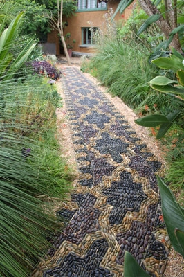 Custom Pebble Mosaic Pathway by Anne Ziemienski