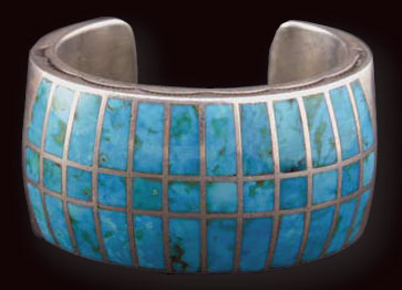 Zuni Turquoise Channel Inlay Bracelet, c. 1940