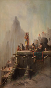 "Astley David Middleton Cooper, Waiting for Montezuma, Circa 1895, Oil on Canvas, 50"" x 30"""