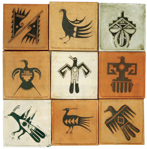 Nine tiles by Awa Tsireh (San Ildefonso)