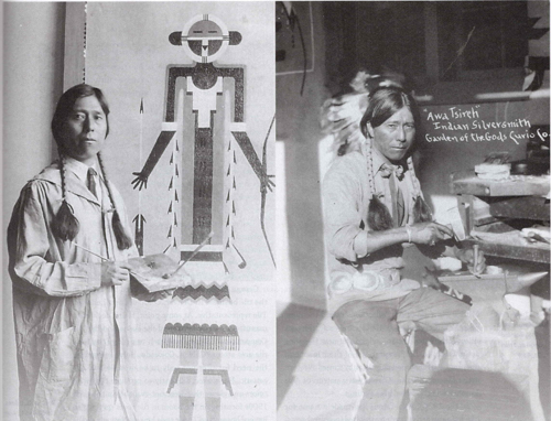 Awa Tsireh (San Ildefonso) making jewelry, Garden of the Gods Curio Co., ca. 1930