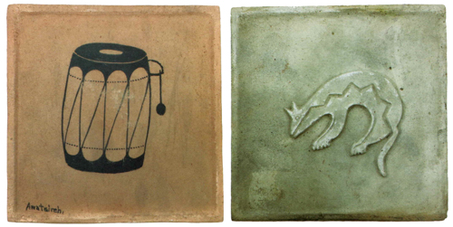 Awa Tsireh (San Ildefonso, 1898-1995), drum tile and animal tile, 5