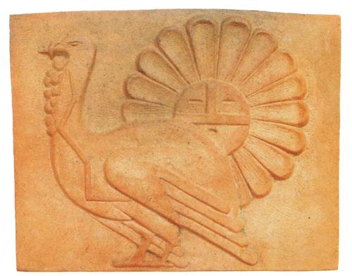 Awa Tsireh (San Ildefonso, 1898-1995), turkey and sunface tile, 9