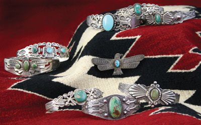 Collection of Fred Harvey jewelry c. 1930-40 Courtesy Mark Sublette Medicine Man Gallery