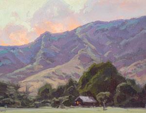 Bill Gallen, Mountain Home Evening, Oil on Mounted Linen, 14