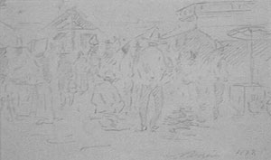 "Edward Borein, Mexican Market, Pencil on Paper, c. 1897, 3"" x 6"""