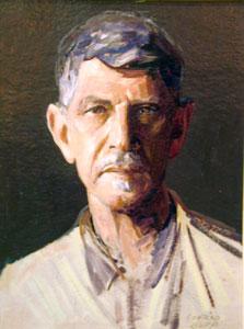 """Conrad Buff, Self Portrait, Oil on Board, 17"""" x 13"""""""