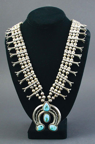 Navajo Silver and Turquoise Squash Blossom Necklace, circa 1930-40