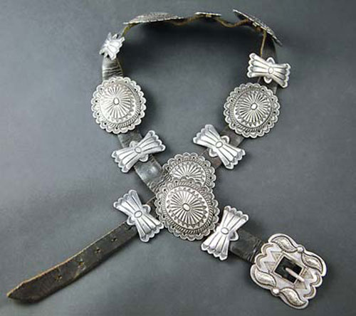 Navajo Silver Leather Concho Belt, circa 1920-30