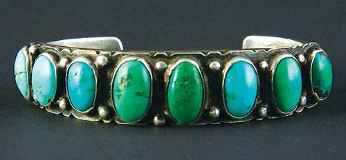 Navajo Ingot Silver Bracelet with Turquoise, circa 1910