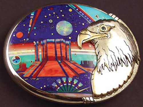Jesse Monongya, Eagle Monument Valley Buckle, Gold, Lapis, Coral, Spiney Oyster, Malachite and Turquoise