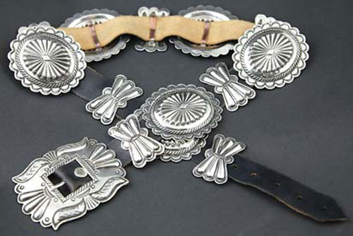 Navajo Ingot Silver Leather Concho Belt, circa 1940
