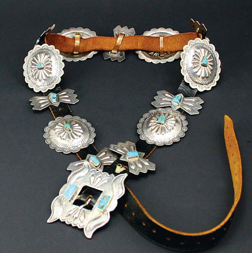 Navajo Silver and Turquoise Leather Concho Belt, circa 1940