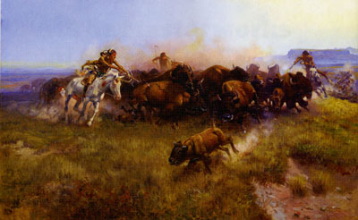Charles Marion Russell, Buffalo Hunt (No. 39), 1919, Oil on Canvas, Amon Carter Museum, Fort Worth, TX, 1961.146